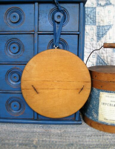 Small Early Antique Round Wood Bread Cutting Board Old Repairs 1890s Blue Calico
