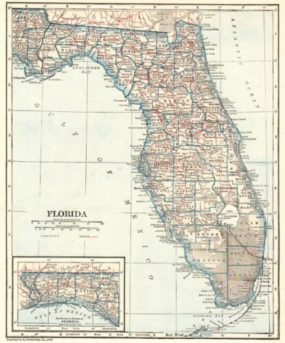 1928 Antique FLORIDA Map Vintage State Map of Florida Gallery Wall Art 8930