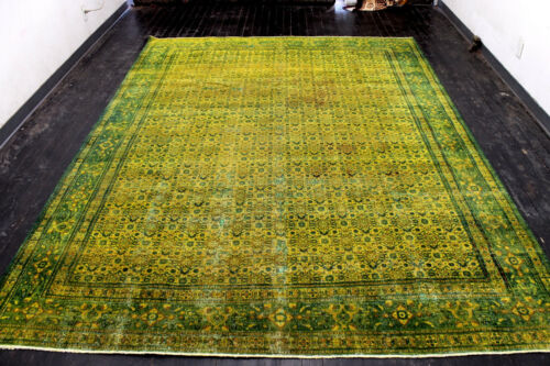 9X12 1940s ANTIQUE HAND KNOTTED GOLD WASHED TABRIZZ WOOL DISTRESSED ORIENTAL RUG
