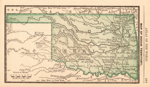 1888 Antique INDIAN TERRITORY Map MINIATURE Vintage Map of Oklahoma 8944