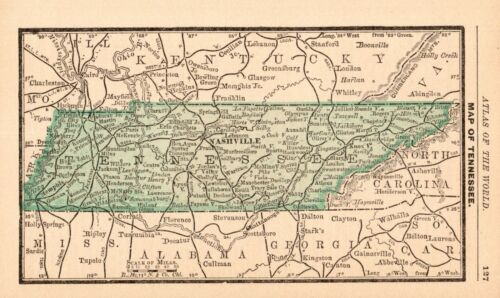 RARE Antique TENNESSEE State Map 1888 MINIATURE Vintage Map of Tennessee 8946