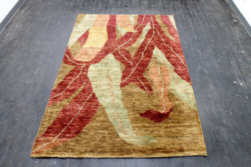 8X5 SPECTACULAR FINE ANTIQUE HAND KNOTTED VEGETABLE DYED WOOL OUSHAK TURKISH RUG