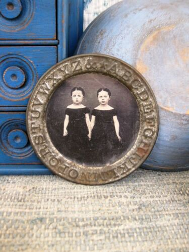 Antique Tin ABC Alphabet Plate with Old Photo Print Twins