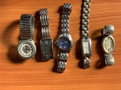 5 X Silver Watches Various Brands