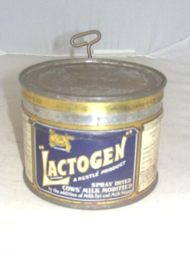 FAIRLY RARE SMALL, PHYSICIANS SAMPLE 'LACTOGEN' ADVERTISING TIN 5oz. NET WEIGHT
