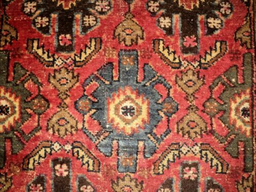 """ANTIQUE Hand Made ART DECO Knotted WOOL RUG Burgundy Rose Teal Tan 3' 5"""" x 6' 3"""""""