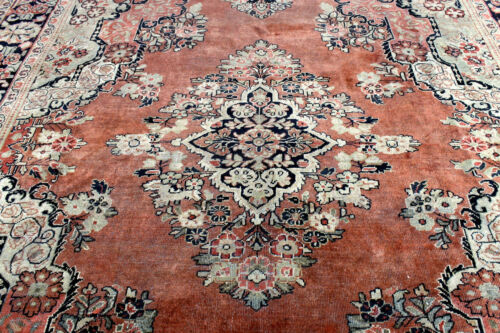 9X12 1930s ANTIQUE HAND KNOTTED VEGETABLE DYE WOOL SAROUKK MAHALL DISTRESSED RUG