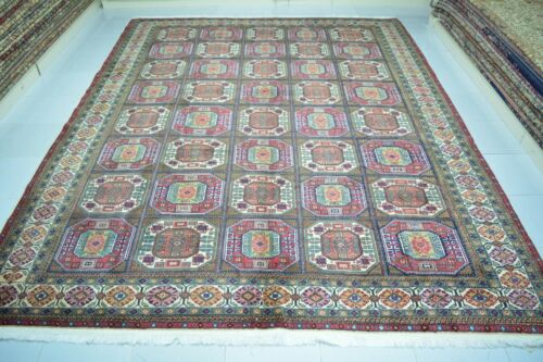 Large Old Wool Handmade Turkish Area Rug 8x10 Blue Vintage Floral Oriental Rug