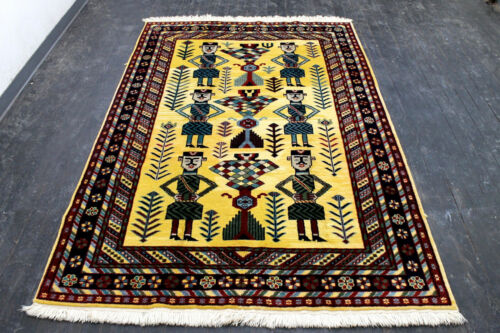 9X6 ELEGANT NEW HAND KNOTTED VEGETABLE DYE TRIBAL PICTORIAL SHIRAZZ ORIENTAL RUG