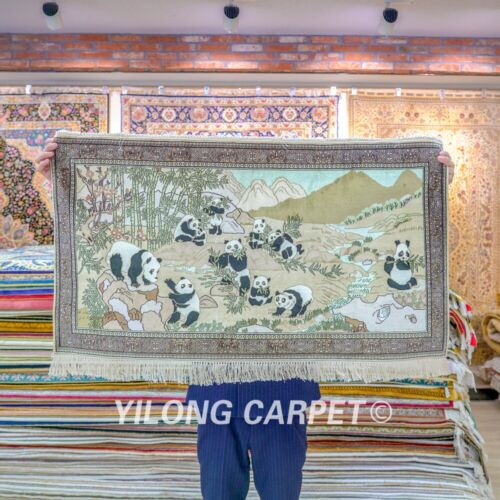 Yilong 3.5'x2' Panda Tapestry Silk Rug Dining Room Hand Knotted Carpet 110H