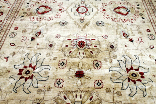 9X12 EXQUISITE FINE HAND KNOTTED BEIGE COLORS WOOL OUSHAK TURKISH ORIENTAL RUG