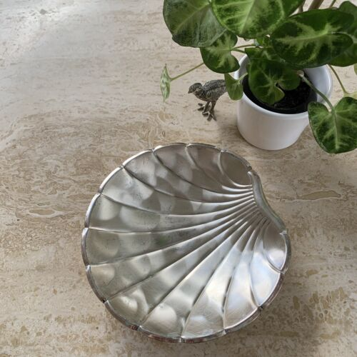 Vintage Footed Silver Shell Tray