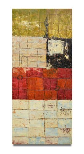 NY Art - Modern Red Abstract 16x36 Original Oil Painting on Canvas - Sale!