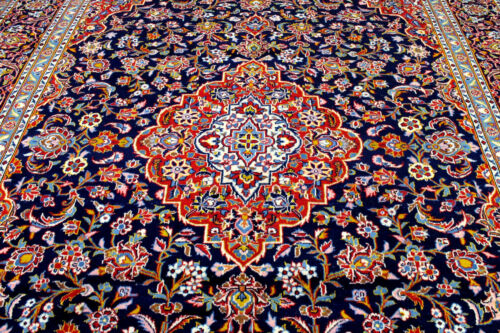 9X12 1940's FINE ANTIQUE HAND KNOTTED VEGETABLE DYE WOOL KASHANN ORIENTAL RUG
