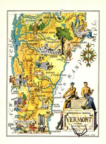1940s Vintage VERMONT State Map Vintage Animated Map of Vermont Picture Map 8974
