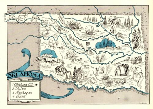 1930s Antique OKLAHOMA State Map RARE Animated Picture Map of Oklahoma BLU 8979