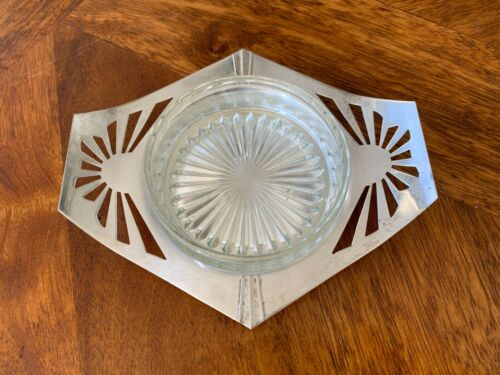 Mint! Rare 1930s Silcraft Australia Silver Plate Butter Dish with Glass Insert