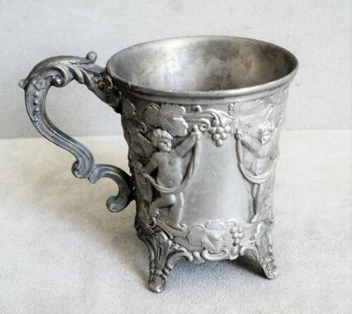 VICTORIAN Antique CUP on Feet CUPIDS GRAPES Swags HARP Silver Ornate by Corbell