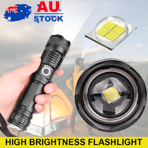 900000LM Tactical Flashlight USB Rechargeable CREE L2 LED Camping Hunting Torch