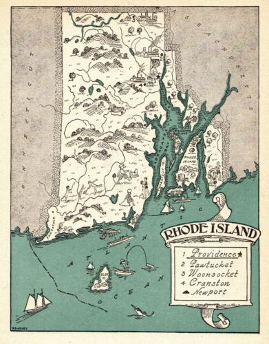 1930s Antique RHODE ISLAND State Map RARE Animated Picture Map BLU 6916