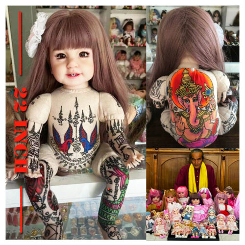 """Thai Amulet Luk Thep Paint Color Sarika & Pikanet Fortune Lucky 22 """" By Aj Kom"""