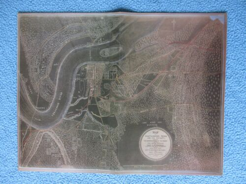 """#  Civil War Map - """"The Black Map"""" Chattanooga, Tennessee & Vicinity - FRAME IT"""