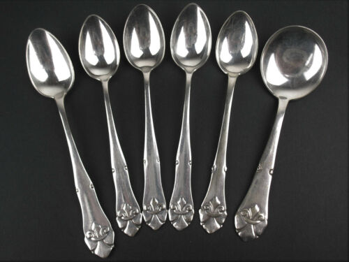 6 Spoons Crafts Danish silverplate COH29 COHR french lily DTA ALTA demitasse etc
