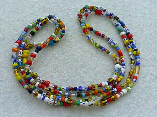 ANTIQUE 33 INCHES STRAND OF COLORFUL MICRO GLASS PONY BEADS