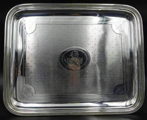 French Christofle Louis XV Silver Plated Guilloche Serving Tray 1858
