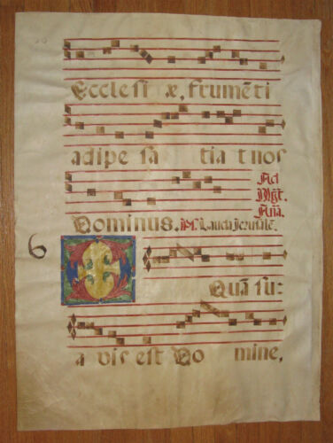 Vellum Antiphonal, Medieval Latin Gregorian Chant, ca. 1600, Color Highlighted