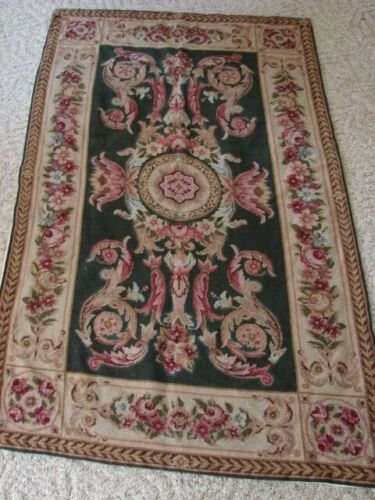 """ANTIQUE, EARLY VINTAGE HANDMADE ROSES FLORALS NEEDLEPOINT RUG 35"""" X 57"""""""