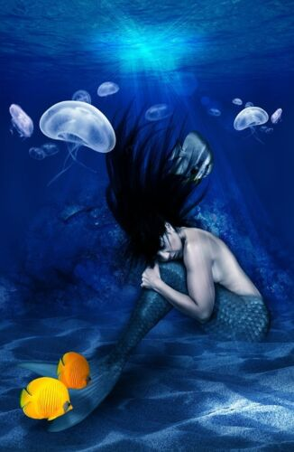 """perfect 36x24 oil painting handpainted on canvas""""A mermaid in the sea"""" NO2384"""