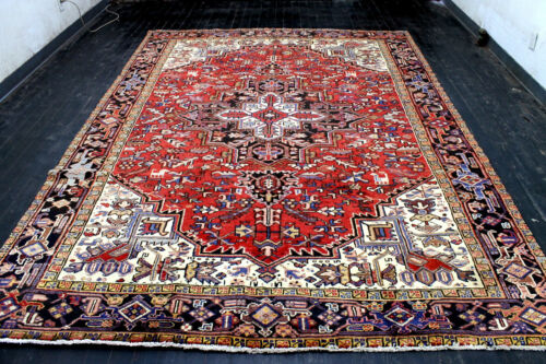 8X11 1940's MASTERPIECE MINT ANTIQUE HAND KNOTTED HERIZZ GEOMETRIC WOOL RUG