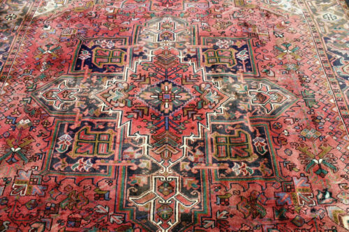 8X11 1940s EXQUISITE ELEGANT FINE ANTIQUE HAND KNOTTED HERIZZ GEOMETRIC WOOL RUG