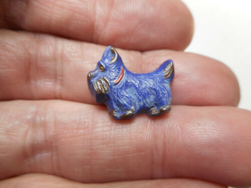 """Really Cute Blue Plastic Realistic Shape Scotty Dog Vintage Button 11/16"""" RS"""