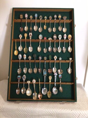Spoons Souvenir Display Case 58 Spoons Including 21 Silver Plate Inc Uk USA Aust