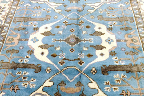 8X10 EXQUISITE MINT NEW HAND KNOTTED TURQUOISE WOOL OUSHAK TURKISH ORIENTAL RUG