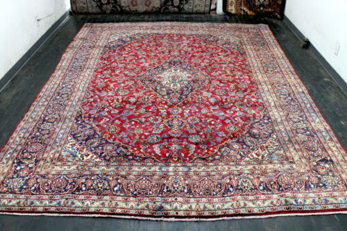 9.6X12.3 ANTIQUE HAND KNOTTED VEGETABLE DYE WOOL MASHADD DISTRESSED ORIENTAL RUG