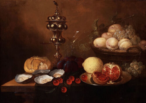 """oil painting """"a silver beaker, oysters, pomegranate, cherries and grapes""""@N11058"""
