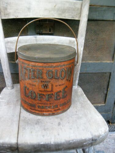 LG Early Antique Tin After Glow Coffee Pail Marshalltown Iowa
