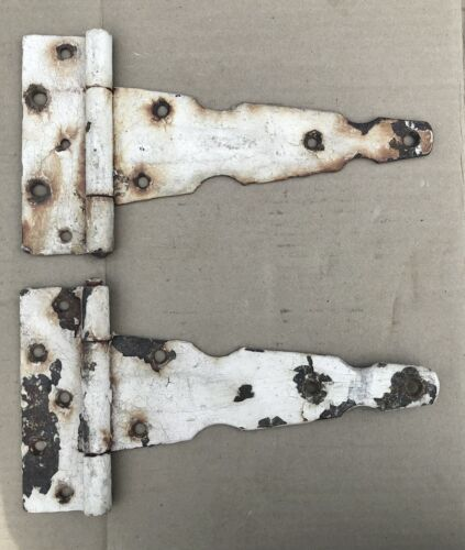 """Pair Antique 12"""" Scalloped T-Strap Hinges Barn Shed Garage Architectural Salvage"""