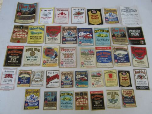 Lot of 40 Old 1930's-40's American Liquor Co. WHISKEY & GIN LABELS - Boston Mass