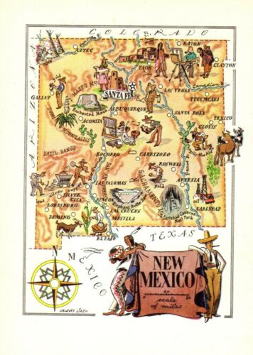 1940s Animated New Mexico Picture Map Vintage State Map of New Mexico 8948
