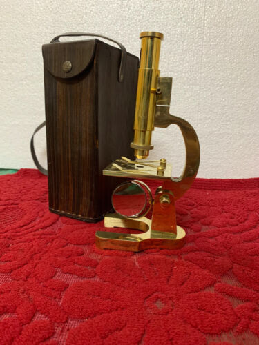 Brass Microscope Student Microscope 7 Inch Vintage Type With Leather Cover