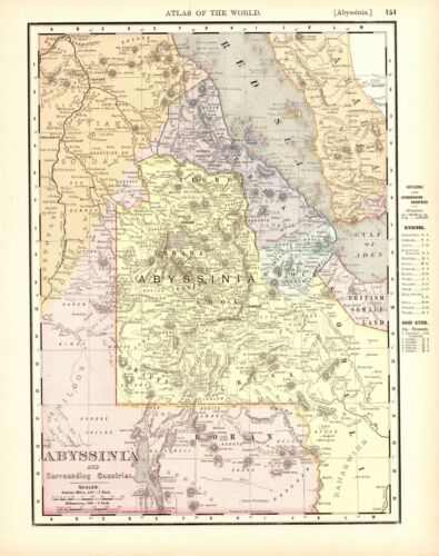 1898 Antique Map of ABYSSINIA Vintage Map of Ethiopia Africa Map 9286