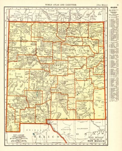 1939 Vintage NEW MEXICO State Map Atlas Map of New Mexico Wall Art 9288