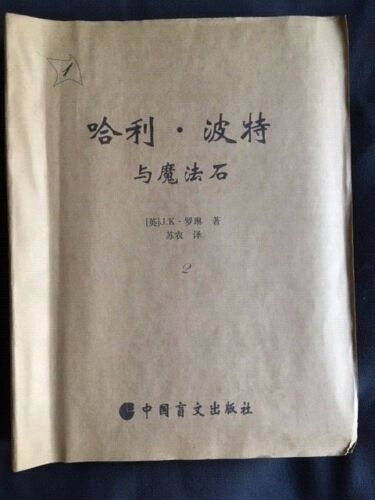 HARRY POTTER AND THE PHILOSOPHER'S STONE VERY RARE CHINESE BRAILLE EDITION BLIND