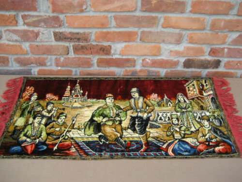 """1970-80s USSR CCCP Small Wall Rug Carpet  39 1/2""""x19 1/2"""" Dancing Men at a Party"""