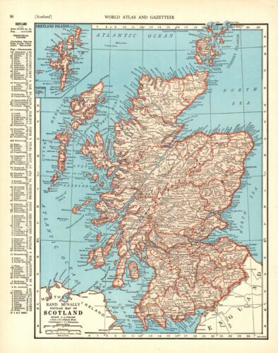 1943 Vintage MAP of SCOTLAND Atlas Map Scotland Gift or Gallery Wall Art 9327