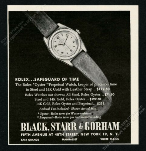 1949 Rolex Oyster Perpetual watch photo BSG vintage print ad